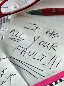 """I Blame You"" note"